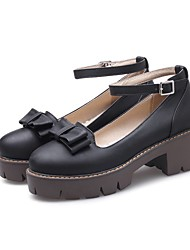 cheap -Women's Heels Chunky Heel Round Toe Sweet Daily Bowknot Solid Colored PU Walking Shoes Almond / Black / Gray