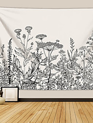 cheap -Wall Tapestry Art Deco Blanket Curtain Picnic Table Cloth Hanging Home Bedroom Living Room Dormitory Decoration Polyester Fiber Plant Series Black And White Flowers