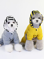 cheap -Dog Coat Jumpsuit Stripes Fashion Casual / Sporty Casual / Daily Winter Dog Clothes Puppy Clothes Dog Outfits Breathable Yellow Gray Costume for Girl and Boy Dog Plush S M L XL XXL