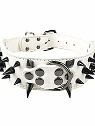 "cheap -2"" wide sharp spiked studded leather dog collars pitbull bulldog big dog collar adjustable for medium large dogs boxer s m l xl white black spike l"