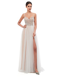 cheap -A-Line Celebrity Style Sexy Engagement Formal Evening Dress Spaghetti Strap Sleeveless Court Train Tulle with Pearls Beading 2021