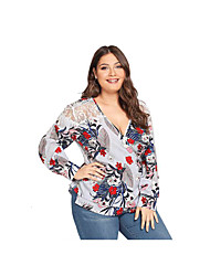 cheap -Women's Plus Size Blouse Shirt Floral Flower Long Sleeve Lace up Lace Patchwork V Neck Tops Basic Basic Top Gray