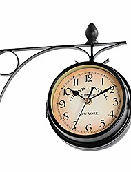 cheap -vintage double sided wall clock, wrought iron wall hanging clock, train station style round clock with scroll art clock decorative double faced wall clock for garden home décor