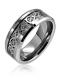 cheap -two tone black silver celtic knot dragon inlay couples titanium wedding band rings for men for women comfort fit 8mm