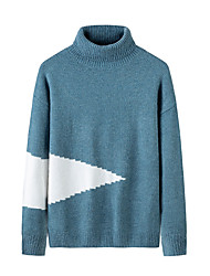 cheap -Men's Stylish Basic Oversized Knitted Color Block Pullover Acrylic Fibers Long Sleeve Sweater Cardigans Turtleneck Fall Winter Black Blue Gray