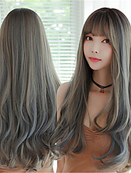 cheap -Synthetic Wig Curly With Bangs Wig Very Long Pink Blue Black Chocolate Synthetic Hair 26 inch Women's Classic Highlighted / Balayage Hair Exquisite Blue Pink