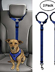 cheap -2 packs dog cat safety seat belt strap car headrest restraint adjustable nylon fabric dog restraints vehicle seatbelts harness