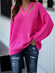 cheap -Women's Stylish Knitted Solid Color Plain Pullover Long Sleeve Sweater Cardigans V Neck Fall Winter Black Red