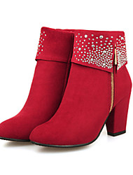 cheap -Women's Boots Chunky Heel Pointed Toe Comfort Novelty Bootie Wedding Party & Evening Rhinestone Solid Colored Suede Booties / Ankle Boots Winter Black / Red / Blue / EU39