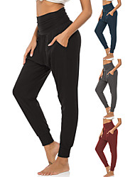 cheap -Women's High Waist Yoga Pants Side Pockets Harem Sweatpants 4 Way Stretch Breathable Quick Dry Black Red Dark Blue Spandex Fitness Gym Workout Running Sports Activewear High Elasticity Loose