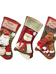 """cheap -Christmas Stocking 3 Pack 18"""" Large Classic 3D Style Santa Claus Snowman, Reindeer and Sturdy Hanging Loop for Fireplace Hanging Home Decorations"""