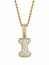 cheap -micropave simulated diamond iced out bling custom bubble letters pendant with rope chain (i gold, 30)