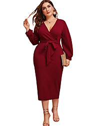 cheap -Women's A-Line Dress Maxi long Dress - Long Sleeve Solid Color Ruched Patchwork Fall V Neck Plus Size Sexy Slim 2020 Wine L XL XXL