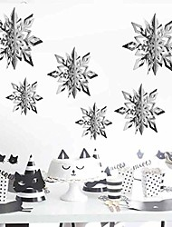 cheap -christmas party decorations,12pcs holiday 3d glittery large snowflake hanging garland flags-christmas winter holiday new year party home decoration (silver)