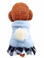 رخيصةأون -فستان بناتي صغير للكلاب ، متجر Fundiscount ، قميص من الفرو الأزرق لطيف فستان منقوش تنحنح سترة خريف شتاء متماسكة جرو الحيوانات الأليفة القط الكلب الملابس