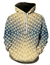 رخيصةأون -رجالي مناسب للبس اليومي البلوز هوديي البلوز 3D الرسم أساسي هوديس بلوزات أصفر