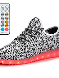 cheap -Boys' Girls' Sneakers Comfort LED Shoes Children's Day Knit Lace up Little Kids(4-7ys) Big Kids(7years +) Daily Walking Shoes LED Luminous Black Red Blue Spring Fall / Booties / Ankle Boots