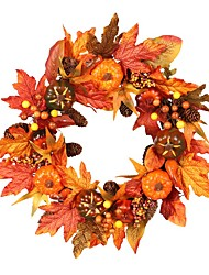 "cheap -22"" Fall Wreath Artificial Yellow and Red Leaves Door Wreath,Pumpkin Berries Maple Leaves Wreath Garland,for Home Front Door Mall for Autumn Halloween Thanksgiving Day Festival Decor"