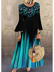 cheap -Women's Shift Dress Maxi long Dress - Long Sleeve Polka Dot Geometric Layered Print Spring Fall Hot Vintage vacation dresses Flare Cuff Sleeve Loose 2020 Blue M L XL XXL 3XL