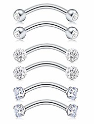 """cheap -16g rook earrings eyebrow piercing rings surgical steel curved barbell with matte ball spike cz jeweled kit lip belly navel daith ear piercing jewelry bar 5/16"""" 12pcs"""