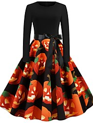 cheap -Halloween Women's A-Line Dress Knee Length Dress - Long Sleeve Print Bow Print Spring Fall Elegant Hot Vintage Party Slim 2020 Orange S M L XL XXL