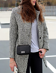 cheap -Women's Striped Patchwork Basic Fall Coat Regular Daily Long Sleeve Wool Coat Tops Gray