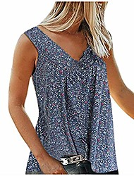 cheap -floral tank tops for women plus size v neck strappy tops summer fashion sleeveless loose shirts tunic top blouses & #40;dark blue, l& #41;