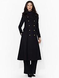 cheap -Women's Coat Solid Colored Basic Fall & Winter Long Daily Long Sleeve Wool Coat Tops Black