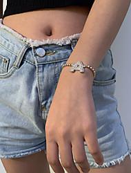 cheap -Bracelet Name Alphabet Shape Vintage European Casual / Sporty Ethnic Rhinestone Bracelet Jewelry Gold / Silver For Christmas Gift Date Birthday Festival