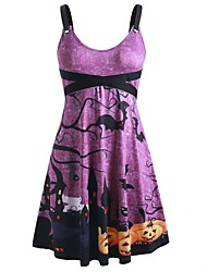 cheap -Women's Halloween A Line Dress Knee Length Dress Purple Sleeveless Pumpkin Bat Print Patchwork Print Summer Round Neck Hot Vintage 2021 S M L XL XXL