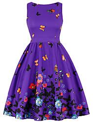 cheap -Women's A Line Dress Knee Length Dress Blue Purple Red Wine Fuchsia Green Rainbow Beige Short Sleeve Floral Backless Bow Print Summer Round Neck Hot Vintage 2021 S M L XL XXL 3XL