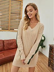 cheap -Women's Sweater Jumper Dress Short Mini Dress - Long Sleeve Color Block Knitted Fall Winter V Neck Casual Loose 2020 Beige S M L XL