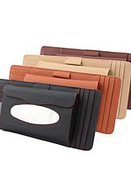 cheap -DeRanFu Genuine Leather Car Visor Tissue Holder with CD Holder Multi-Functional CD Organizer Visor Tissue Box Bag Card Slot for Car & Truck 3 In 1 Litchi Grain