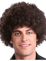 cheap -Cosplay Wig Afro Jerry Curl Asymmetrical Wig Short Brown Synthetic Hair Men's Anime Cosplay Exquisite Brown