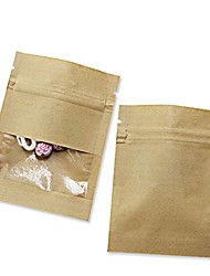 cheap -100 pack clear window kraft paper for zip bag reclosable lock seal food storage bags zipper lock resealable heat seal pouch smell proof sample coffee packet (3.5x5.1 inch (inner size 3.1x3.9 inch))