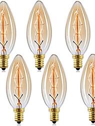 cheap -10pcs  6pcs  4pcs 40 W E14 C35 Warm Yellow 2200-2700 k Retro Dimmable Decorative Incandescent Vintage Edison Light Bulb 220-240 V