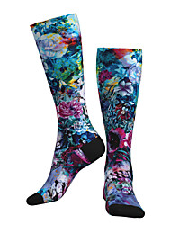 cheap -Compression Socks Long Socks Over the Calf Socks Athletic Sports Socks Cycling Socks Women's Men's Bike / Cycling Breathable Soft Comfortable 1 Pair Floral Botanical Cotton Green S M L / Stretchy