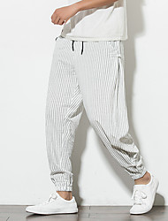 cheap -Men's Chinoiserie Breathable Linen Slim Daily Home Sweatpants Pants Striped Ankle-Length Stripe Drawstring White Black Navy Blue / Elasticity