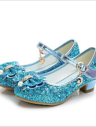 cheap -Princess Elsa Flower Shoes Girls' Movie Cosplay Mary Jane Sequins Golden Black Red Shoes Children's Day Masquerade