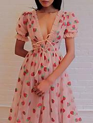 cheap -Women's Swing Dress Midi Dress - Short Sleeve Print Patchwork Summer V Neck Elegant Cotton Mesh Black Blushing Pink S M L XL