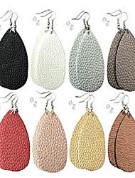 cheap -leather earrings lightweight faux leather leaf dangle earrings teardrop earrings antique handmade earrings for women gift, 8 pairs