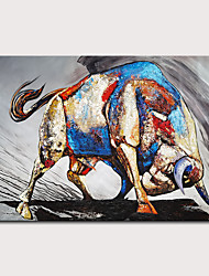 cheap -Oil Painting Hand Painted - Animals Pop Art Modern Rolled Canvas (No Frame)