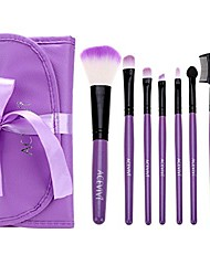 cheap -lovely 7 pcs purple travel foundation brush kit gift set with shinning purple bag case