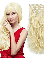 cheap -7pcs/set clip in hair extensions blonde 20inch long wavy heat resistant synthetic hairpiece gifts for girl lady women (613#)