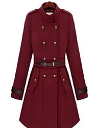 cheap -Women's Solid Colored Basic Fall & Winter Coat Long Daily Long Sleeve Wool Coat Tops Wine