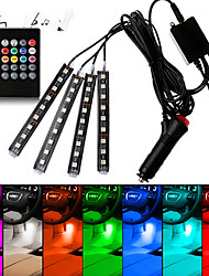 cheap -Car RGB LED Interior Strip Light 4pcs Colors Car Styling Decorative Light Music sound Control Multiple lighting Atmosphere Lamps Interior With Remote Dash Floor Foot Lamp USB/Car plug charger 12V/5V