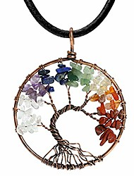 cheap -tree of life teardrop heart amethyst opal pendant necklace copper wire wrapped gemstone healing chakra necklace choker 18""