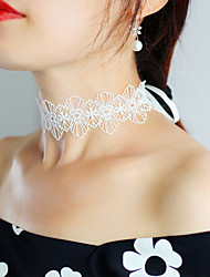 cheap -Choker Necklace Pendant Necklace Necklace Women's Flower Shape Dainty Elegant Modern Cute Sweet Cute Lovely Wedding White Black 28.5 cm Necklace Jewelry 1pc for Wedding Street Daily Engagement Prom