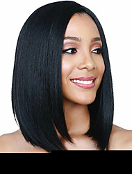 cheap -Synthetic Wig Natural Straight with Baby Hair Wig Medium Length Natural Black Synthetic Hair 38-42 inch Women's Middle Part Bob Black