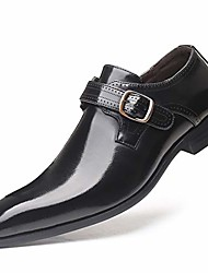 cheap -men's monk strap shoes, brush-off leather slip ons, loafer with single buckle, black